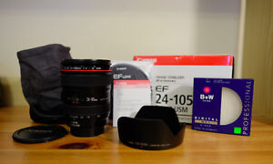 Mint Condition - Canon EF Lens 24-105mm F4.0 & B+W Filter