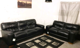 • Real leather Black 3+2 seater sofas