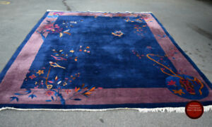 """GORGEOUS 1920s QUALITY CHINESE RUG 9""""7"""" x 8' AT CHARMAINE'S"""