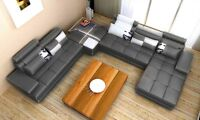 **NEW! 4 PC Leather Sectional Sofa w/Ottoman! Free Shipping**
