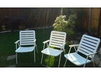 Set of 3 folding deck chairs