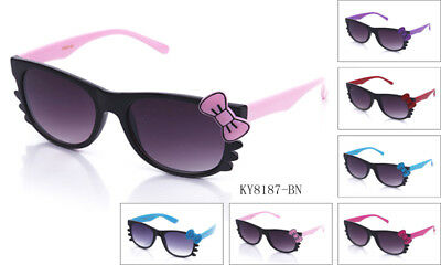 Hello Kitty Style Sunglasses Bow & Whiskers Black Frame Color Bow & Temple (Hello Kitty Sunglasses With Bow)