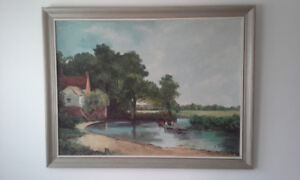 """""""The Hay Wain"""" reproduction oil on board 35 x 27 in"""