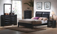 King Leather Sleigh Bedroom Set, DR, MI, and NS, Brand New!
