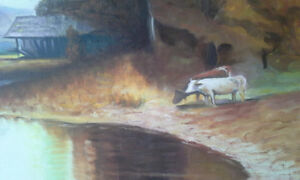 Big vintage cows, pond and barn oil painting signed by artist