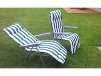 2 almost new quality reclining deck chairs loungers in green & white stripe.. cost £100, sell £50
