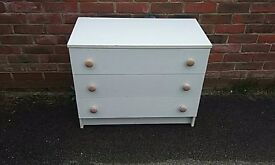 Old white 3 drawer chest.