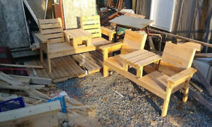 Cedar Wooden Benches With Table in the Middle