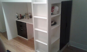 Bunk bed, desk, drawers, shelving unit, closet