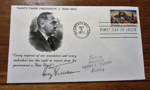 1971 HARRY S. TRUMAN 8 Cent First Day Cover Kitchener / Waterloo Kitchener Area image 1