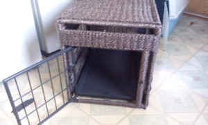 Wicker dog cage