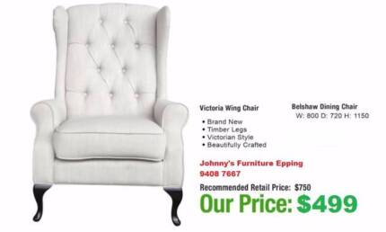SALE Victoria Chesterfield Fabric Wing Chair - BRAND NEW