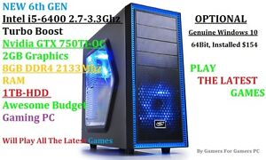 Intel i5-6400 2.7-3.3Ghz,Nvidia GTX750TI oc 2GB Graphics,8GB RAM Fairview Park Tea Tree Gully Area Preview