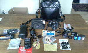 Complete Minolta x-700 35mm camera with many lenses
