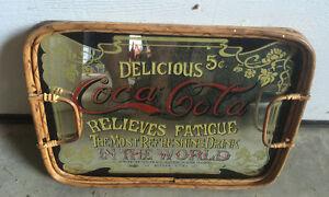 Vintage Wood Mirror Coca Cola Coke Serving Tray
