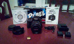 Canon Rebel SL1 w/18-55mm IS STM, ET-63C lens hood, and extras
