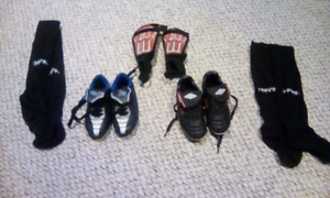 Kids Soccer shoes size 10 and 11 socks and pads $20