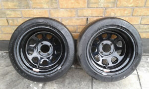 DIAMOND Racing Steelies and HOOOSIER Slicks (2ONLY) 4X114.3