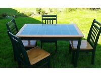 Green tiled top table & 4 chairs