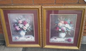 Set of 2 Framed Rose Flower Paintings