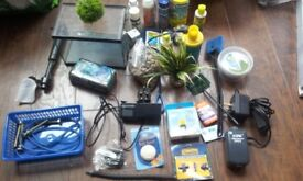 various aquarium fish tank accessories and care chemicals (x7 different)