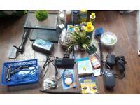 various aquarium fish tank accessories and care chemicals (x7 different)
