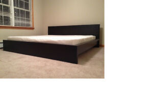 IKEA Black-Brown MALM (Low) King Size Bed Frame & Slats For Sale