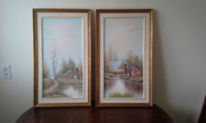 Two J. Medina signed vintage landscape with barn oil paintings