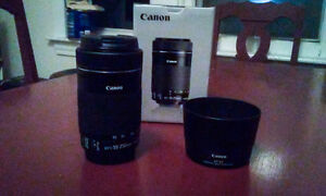 LIKE NEW Canon EFS 55-250mm IS STM lens with ET-63 lens hood
