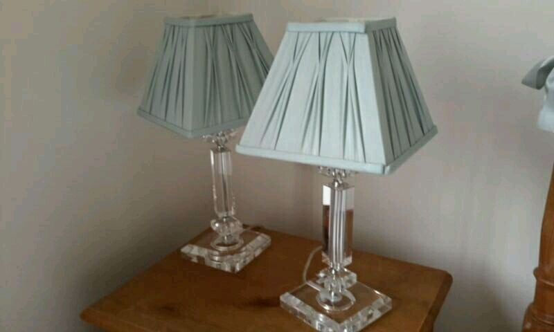 2 laura ashley bedside table lamps duck egg satin shades with 2 laura ashley bedside table lamps duck egg satin shades with crystal bases aloadofball Gallery