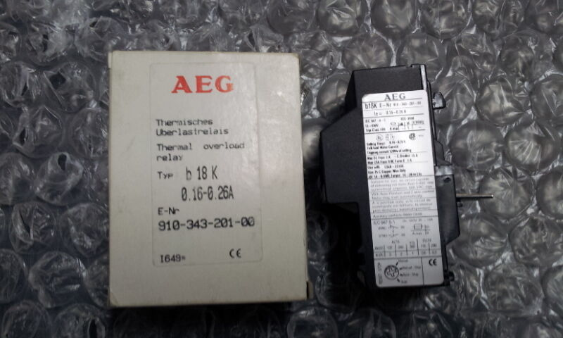 AEG B18K 0.16-0.26A THERMAL OVERLOAD RELAY 910-343-201-00