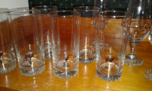 LOT - 16 Olympic Torch Crystal Glasses w/ 22K Gold Rims Like New