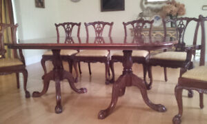 "74"" Handcarved Mahogany Chippendale Dining table + 6 chairs"