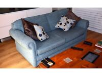 Large 2 Seater Sofa Bed - Blue fabric