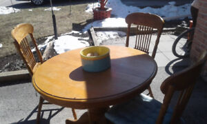 Solid Oak Pedestal table and chairs