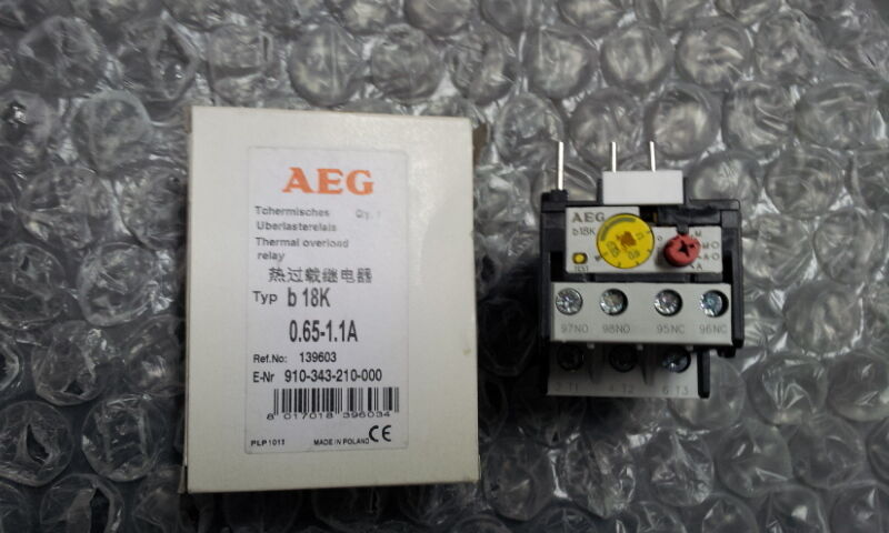 AEG b18K 0.65-1.1A THERMAL OVERLOAD RELAY  Part No. 910-343-210