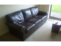 **FOR SALE** Brown Leather Three Seater Couch and Single Arm Chair***