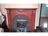 Fire surround and marble half in oak and marble