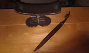 South African hand carved wood tribal neck rest & letter opener