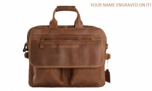 BROWN LEATHER DOCTOR/MEDICAL BAG ENGRAVED w/NAME ON IT