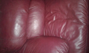 Burgundy Leather Couch and Chair