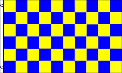YELLOW & BLUE 3X5 Polyester CHECKERED - Blue Checkered Flag