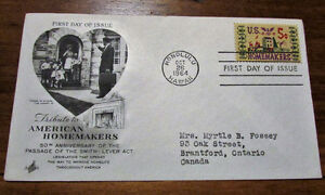 1964 Tribute to American Homemakers 5 Cent First Day Cover Kitchener / Waterloo Kitchener Area image 1