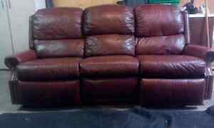Brown 100% real leather 3 sitter recliner