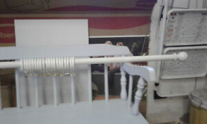 White Wood Curtain Rod with Rings