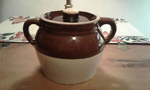 Yellowware bean pot