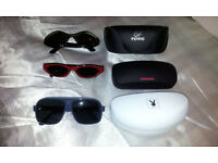 3 VINTAGE LADIES SUNGLASSES WITH CASES - PLAYBOY, 2 GF FERRE - USED IN EXCELLENT
