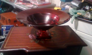 Large red centerpiece Bowl with pedestal