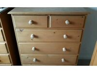 Used Solid Pine Annie Mo's Bedroom Furniture (Double Bed, Dressers, Dresser Mirror, Bedside Table)