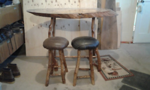 Rustic Handmade Wooden Table and Stools